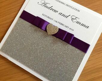 Glitter Wedding Invitation Card, Silver Wedding Invitation, Glitter Wedding Invitation, Silver and Purple Invitation, Pocket Invitation