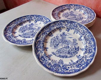 6 old plates in faience of Lunéville. Vintage object. French France. Art of the table. Rustic décor.