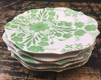 Beautiful green and white hand painted plates by Rosanna Bowles