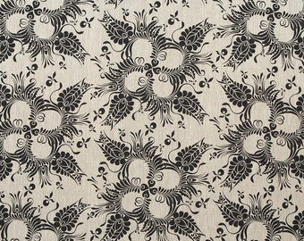 Linen Fabric By the yard Botanical Dark Grey on Flax