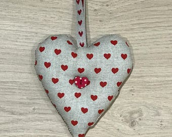 Love Heart Hanger in Beige/Red