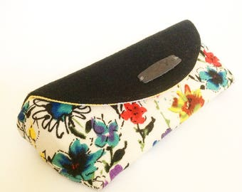Floral Cotton and Black Pendleton Wool Case for Sunglasses