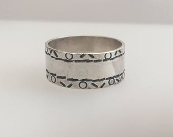 Sterling Silver stamped band ring