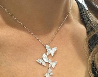 SALE Butterflies CZ Necklace , Butterfly CZ Silver Necklace, four Butterflies Necklace,Micro pave silver necklace