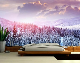 MOUNTAIN Wallpaper, Wallpaper snow,  snow mural, self-adhesive, snow wall mural, snow wall decal, snow wallpaper, forest wall, pine snow