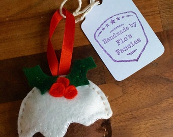 Handmade Felt Christmas Pudding Tree Decoration