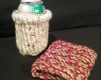 Hand knitted drink sleeve- small
