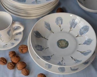 Ceramic Plate, 1 Piece Dinner Plate, Stoneware Plate, Dinnerware Plate, Soup Plate,  Plate with Floral Stamp