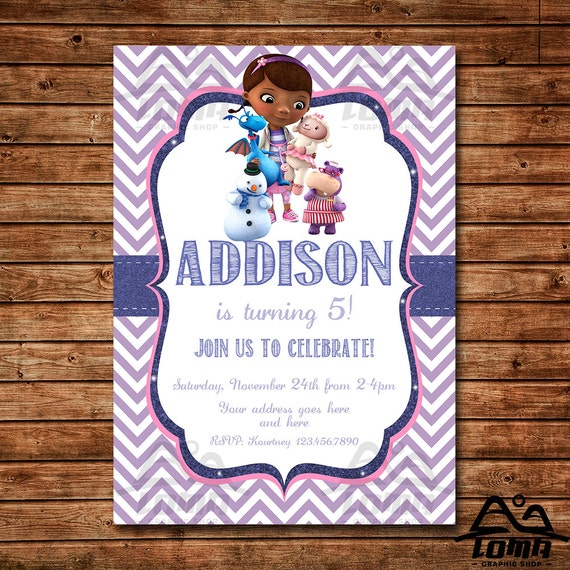 Doc McStuffins Birthday Invitation, Doc McStuffins Birthday, Disney Junior Invitation, McStuffins Birthday Invitation, Doc McStuffins