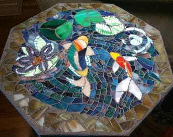 Koi Pond Mosaic End Table
