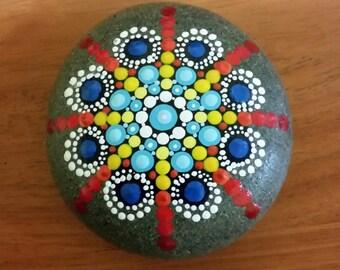 Red White Blue Mandala Beach Stone