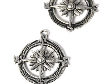 2pc, Compass Charm, Pewter