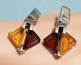 Genuine Amber Earrings set in Sterling Silver