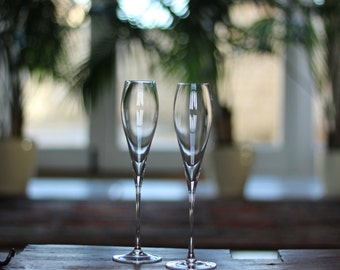 Crystal Champagne Flutes | Set of 2 | Gift Boxed by Lunar Oceans