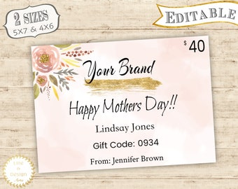 Editable PDF Gift Certificate Card for Your Business | Commercial Printable Gift Card | Gift Card Digital Print | Gift Certificate Printable