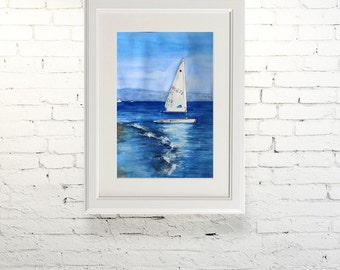 """Printable wall art  Watercolor poster """"On the waves"""" Home decor"""