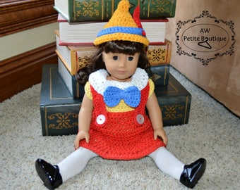 "Handmade crochet Pinocchio Inspired outfit for American girl doll, 18"" doll, and preemie baby size (12"" head circumference)"