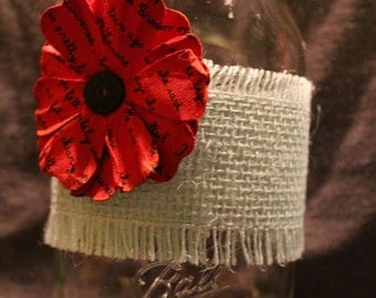 Red Poppy Flower Burlap Mason Jar