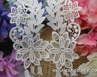 Bridal Lace Applique Pair/White Lace Applique/Cotton Lace Applique/Flower Applique/Dangling Applique/Tussle /Lace Patch, by pair/LA-16-1