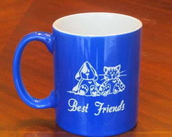 Engraved Coffee Cup, Best Friends Coffee Cup,Dog and Cat Best Friends mug, Personalized Coffee Mug, Coffee Mug, Coffee Cup