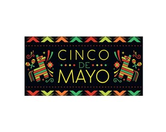 Cinco de Mayo Banner 2'x4' // Cinco de Mayo decor // Vinyl Banner