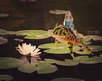 Pink Flower Lily Pad Digital Photo Backdrop - Frog Digital Background - Magical Child Fairytale Enchanted Nature Photo Backdrop - Reptile
