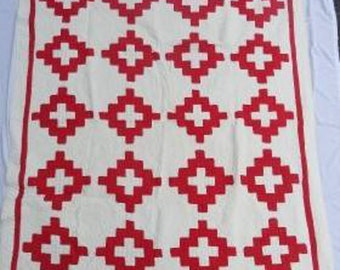 Antique 'Chimney Sweep' Red and White Quilt #17501