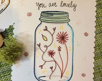 Handmade You Are Lovely Greeting Card