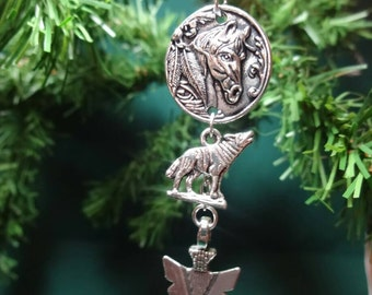 Horse wolf arrowhead christmas ornament