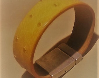 Genuine handcrafted ostrich leather bracelet