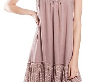 Polka Dot Contrast Lace Trim Slip Dress with Adjustable Straps