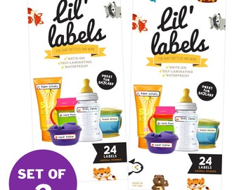 Bottle Labels, 2-Pack (Animal Friends / waterproof labels for daycare / dishwasher-safe labels for school) FREE ship in US