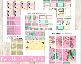 FairyTale Printable Planner Stickers/Weekly Kit/For Use with Erin Condren/Cutfiles Fall September Fairy Fairies Glam