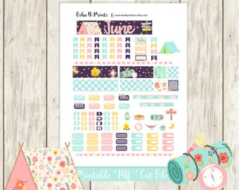 Great Outdoors Printable Planner Stickers/POCKET Traveler Notebook/Monthly Kit/Annie Plans Printable/June Glam Summer Camping Fishing