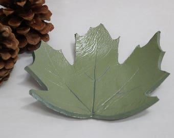 Decorative Maple Leaf Trinket Dish - Real Maple Leaf Clay Decorative Trinket Dish