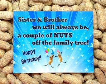 Sister & Brother Card! Gag Gift / Gift for Her / Gift for Him / Funny Greeting Card / Prank Gift / Birthday Card / Funny Card / Novelty gift