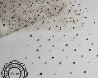 18'' Zoria Birdcage Veil with Coffee Brown Chenille Dot Per Yard | A010618M-02A-BN