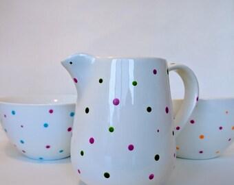 Breakfast bowls and milk jug