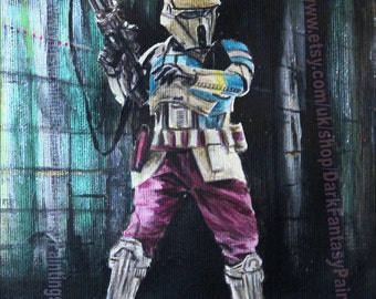 Star Wars Shoretrooper Painting - Star Wars Rogue One Art - Shore Trooper - A4 - NOT a print