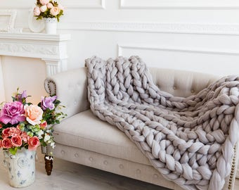 gray chunky throw blanket grey bed throw super bulky arm knitted wool blanket - Cable Knit Throw