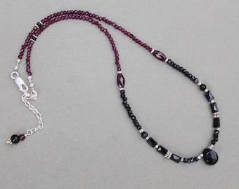 Garnet Black Spinel Onyx Gemstone Thai Silver Necklace Sundance Style