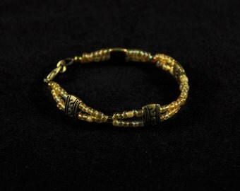 Double Stranded Bronze and Gold Bracelet
