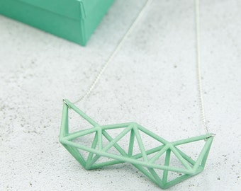 3D printed mint green statement necklace