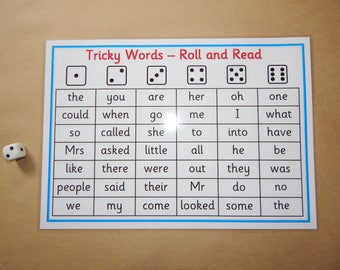 Tricky Words - Phases 2-5 Roll and Read Game - Phonics, Letters and Sounds, EYFS, KS1, SEN , Reading, Reusable, Laminated mats