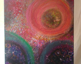 Original Abstract Painting with Acrylic and Oil Pastel on Canvas, Textured Mixed Media, Circle Wall Art