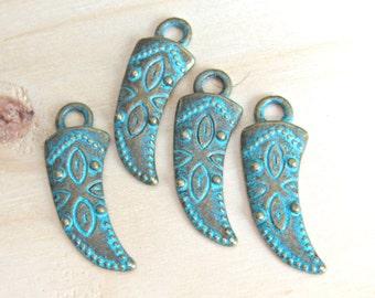Patina Horn charm, Horn charm, horn pendant, Boho charm, turquoise charm, tribal pendant, Patina pendant, patina charms, green charms