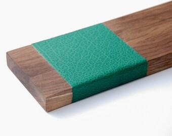 Wall shelf wood & leather