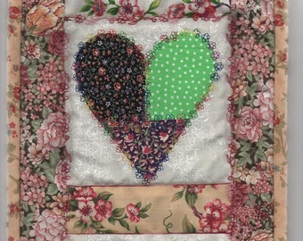 Quilted TOKEN OF LOVE - hearts wallhanging