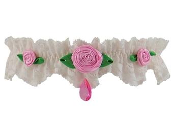 Wedding garter, garter, pink rose garter, pretty garter