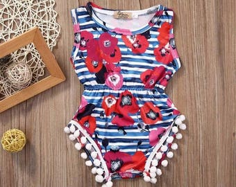 Baby girl striped floral romper